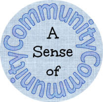 """A light blue circle with text that reads """"A Sense of Community."""" The words """"A Sense of"""" are in black font in the center of a circle made of the word """"Community"""" written twice."""